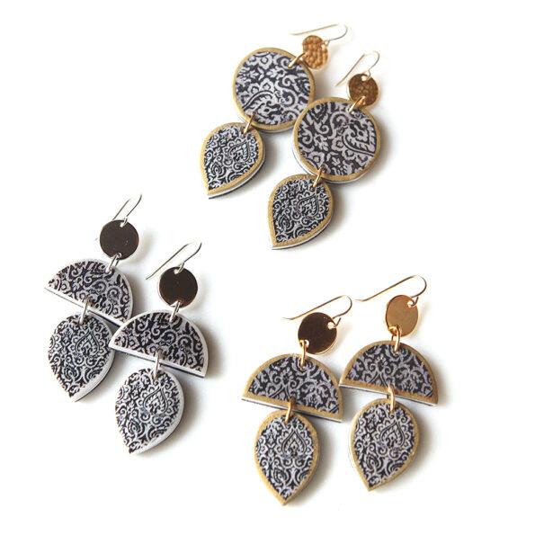 aisha shape morocco earrings tile porcelain style gold black melbourne