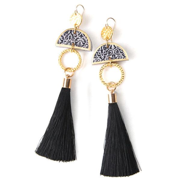 LIMITLESS LUXE small half moon art tile earrings – black tassel – LONG