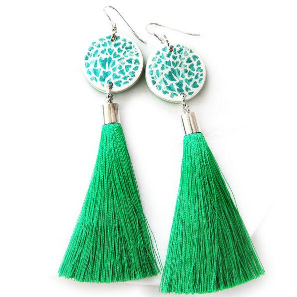 HEART art tassel earrings – green