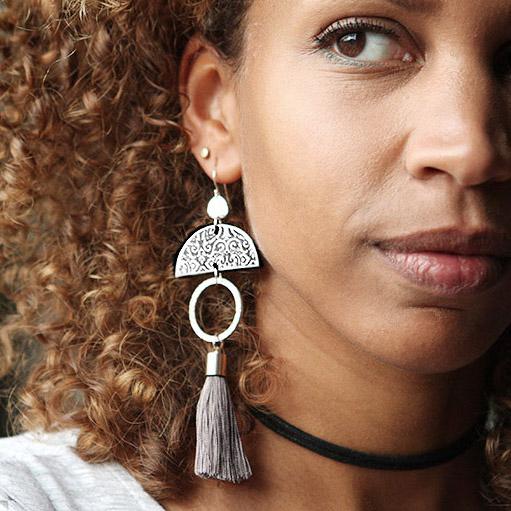 LIMITLESS LUXE large statement art tile tassel earrings
