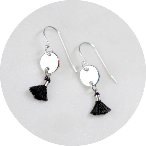 mini 8mm tassel coin earrings black NEW Next Romance Jewellery melbourne