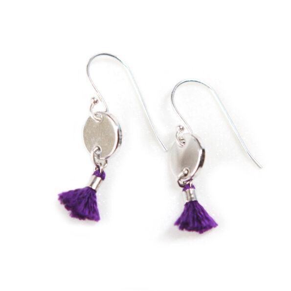 MINI TASSEL coin earrings 8mm – purple