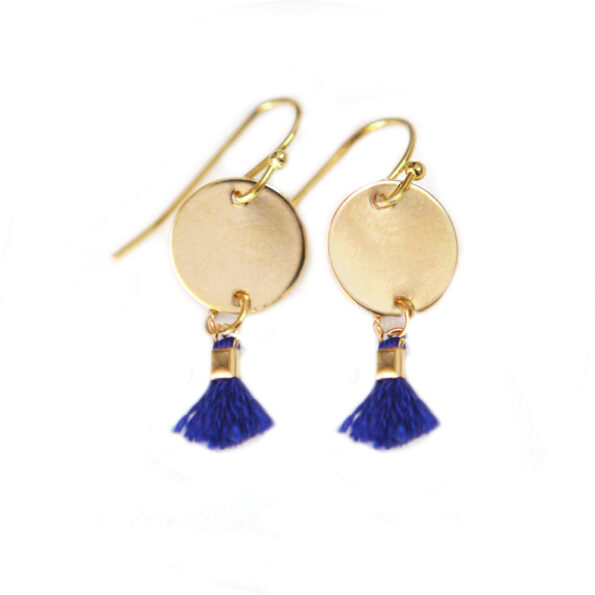 MINI TASSEL coin earrings – blue