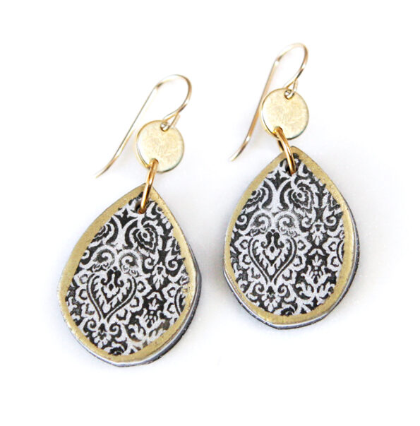 morocco tile black teardrop art earrings with coin top dangley Next Romance Jewellery Made in Melbourne Finders Keepers Market Sydney