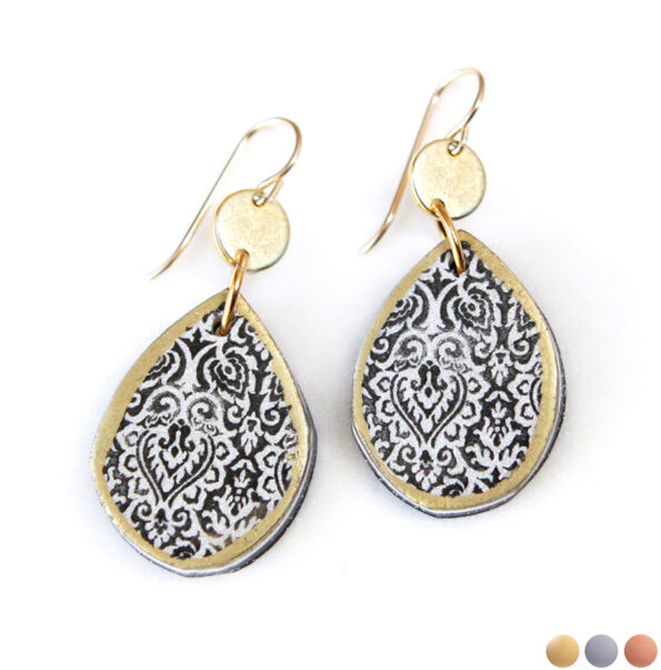 LIMITLESS LUXE moroccan wedding art teardrop earrings with coin – silver or gold BLACK