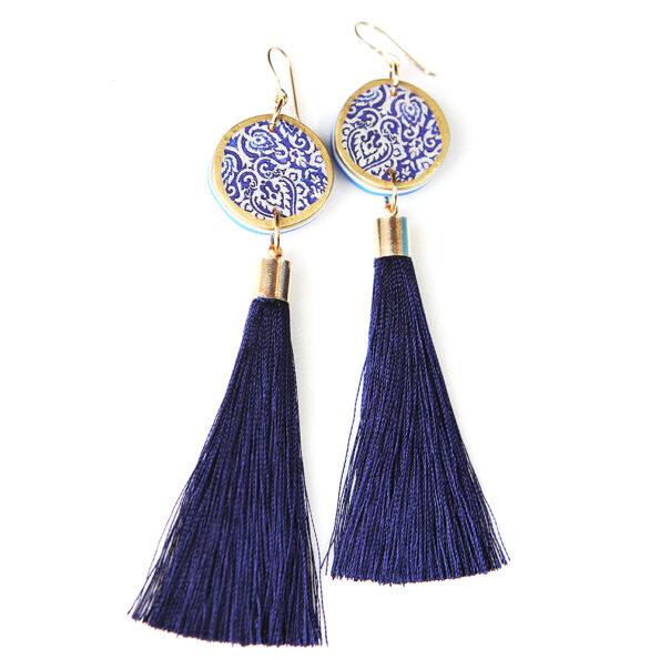 LUXE tassel coin art earrings – navy silk