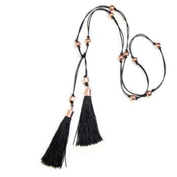 next romance TASSEL jewellery melbourne black tassel lariat necklace