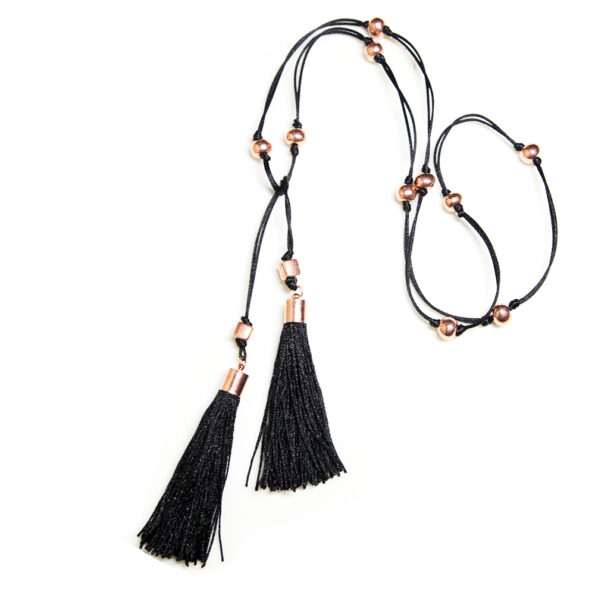 _ TASSEL WRAP necklace lariat with chunky black tassels – other tassel colours avail