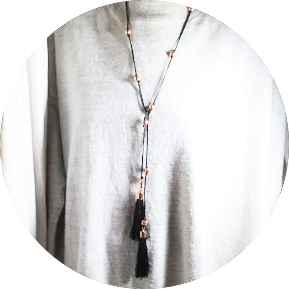 next romance TASSEL jewellery melbourne black tassel lariat necklace rose copper gold ceramic