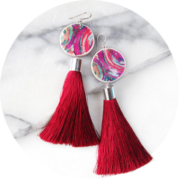PAINT ME RED tassel art earrings