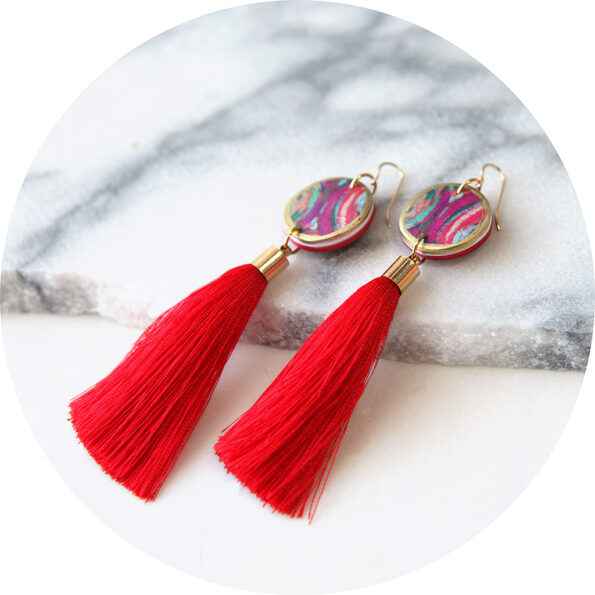 paint me red gold tassel earrings NEXT ROMANCE unique art jewellery