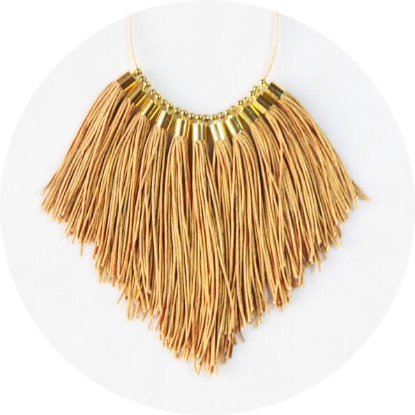 tassel necklace fabulous fringe – pale gold tan