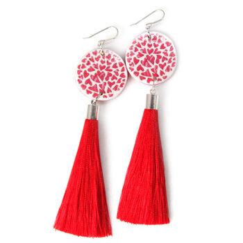 red heart tassel art earrings next romance jewellery 2017