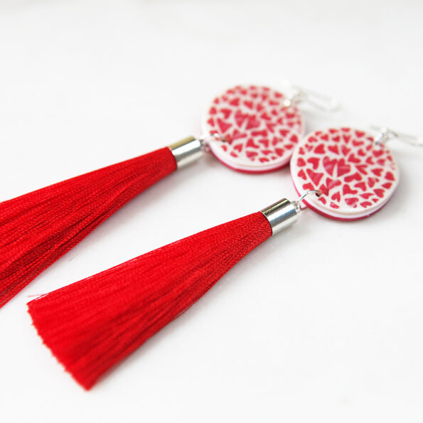 red heart tassel art earrings next romance jewellery melbourne