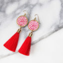 red hearts tassel art earrings silver NEXT ROMANCE jewellery
