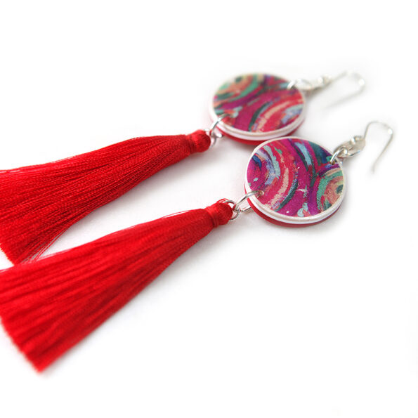 red tassel art painter earrings next romance jewels