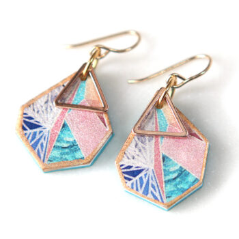 rose gold mini triangle art earrings by Next Romance Jewellery Australia