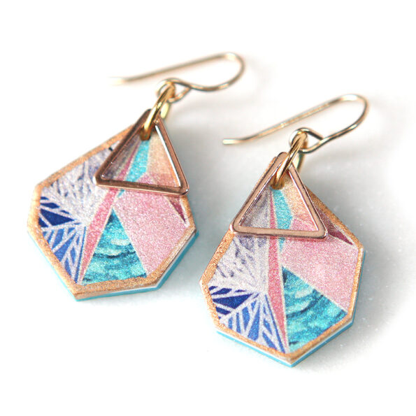 SNOWFLAKE triangle art earrings – peach sunset – rose gold