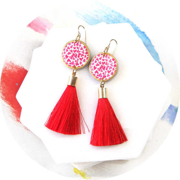HEART art tassel earrings – RED