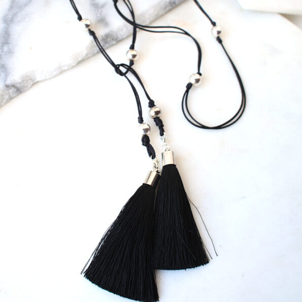 black tassel wrap necklace lariat vicki leigh next romance jewellery australia