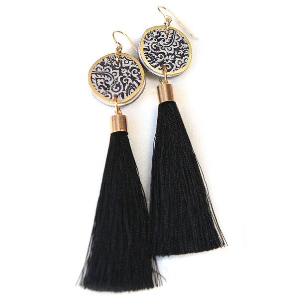 LUXE tassel art earrings with moroccan inspired pattern – black silk
