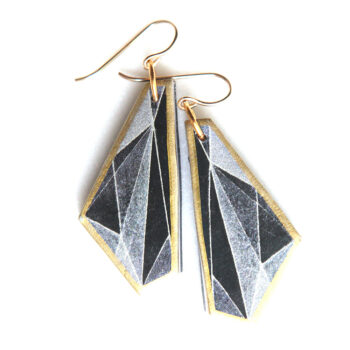 unique earrings triangle geo black gold elytra next romance jewellery melbourne