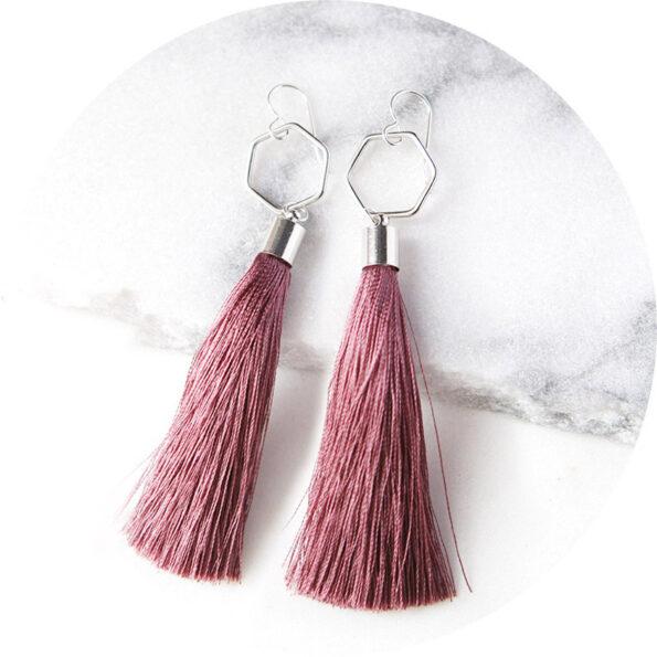 HEX TASSEL earrings dusty rose pink – rose, gold or silver