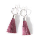 dark dusty rose pink tassel earrings pink next romance jewellery unique designs vicki leigh melbourne australia