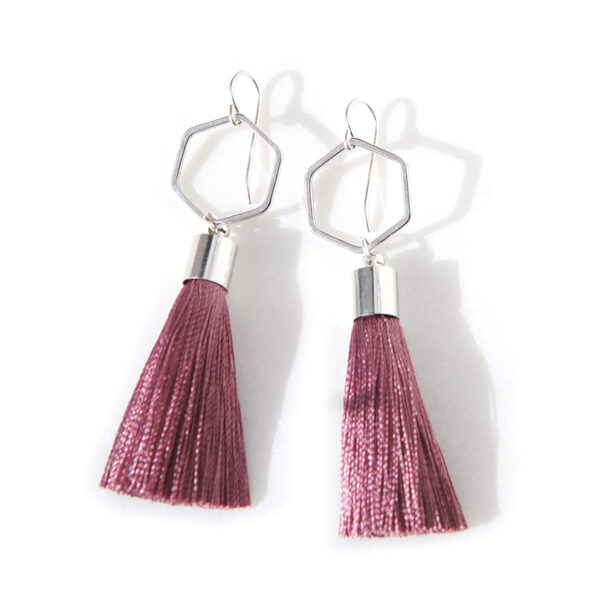 dark dusty rose hexagon tassel earrings pink – rose, gold or silver