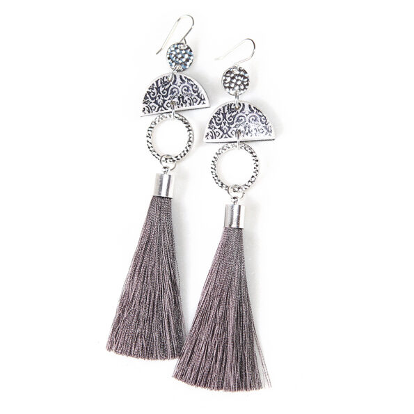 LIMITLESS LUXE small half moon art tile earrings with GREY tassel – LONG