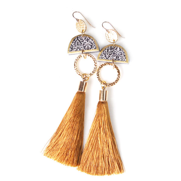 LIMITLESS LUXE small half moon art tile earrings with GOLD tassel – LONG