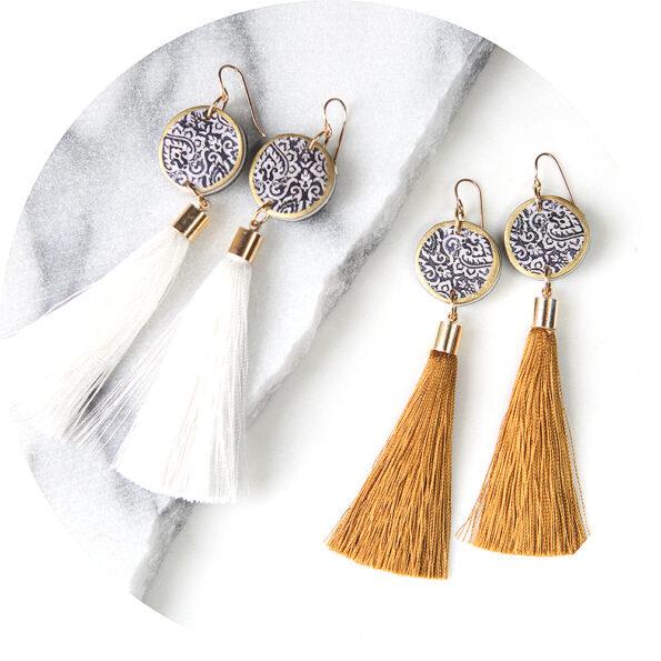 LUXE tassel coin art earrings – white or gold silk