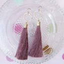 dusty pink rose long gold tassel earrings -HEX-model-mariama-NEXT-ROMANCE-jewellery-australian