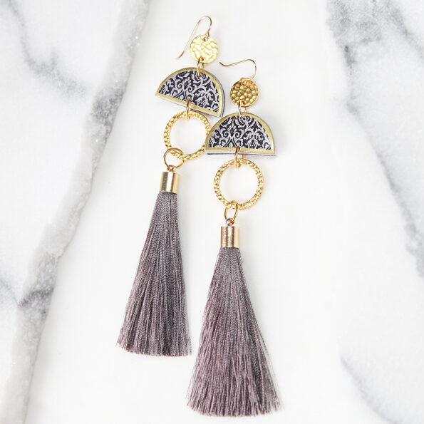 NEXT ROMANCE LIMITLESS LUXE grey tassel moon earrings statement tassels
