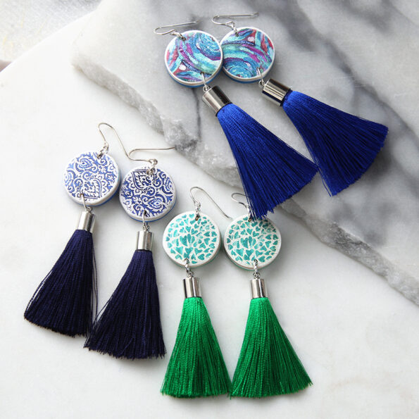 Next Romance tassel art earrings LUXE tassel art range painterly hearts handcrafted design