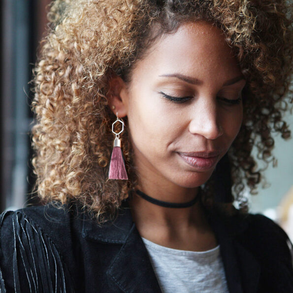 musky dusty pink tassel earrings -HEX-model-mariama-NEXT-ROMANCE-jewellery-australian