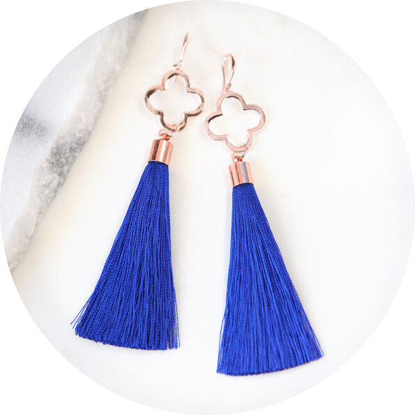 rose gold clover tassel earrings dangley next romance australia jewellery