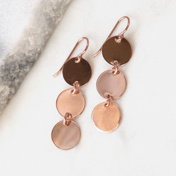 rose gold coin earrings 3 coin stack next romance jewellery australia handmade unique