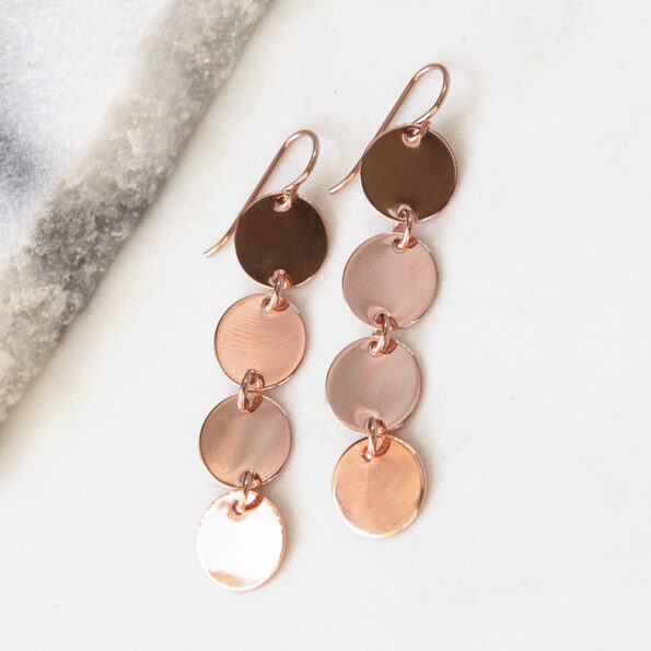rose gold coin earrings 4 coin stack next romance jewellery australia handmade unique