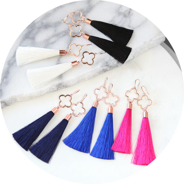 CLOVER TASSEL rose gold modern earrings with silk tassel