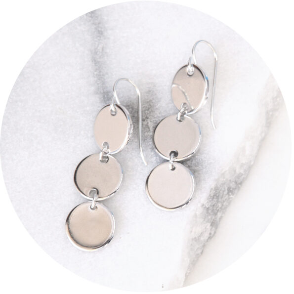 COIN stack geometric earrings – silver, gold, rose gold