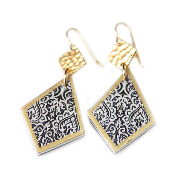 LIMITLESS LUXE 'Zakaria' diamond drop tile art earrings