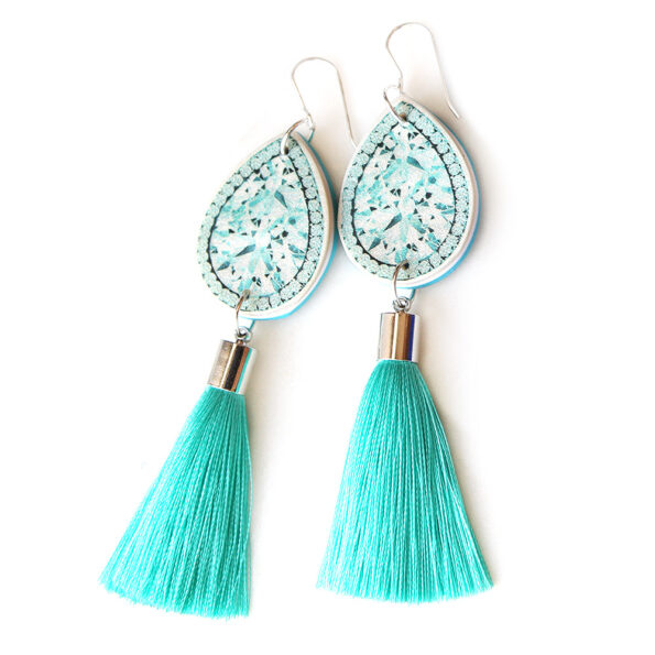 DIAMOND illustration top tassel earring – teal