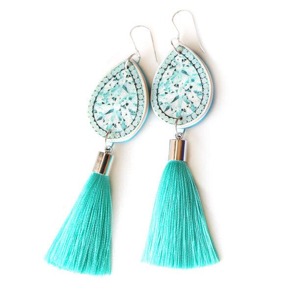 DIAMOND illustration top tassel earring – teal