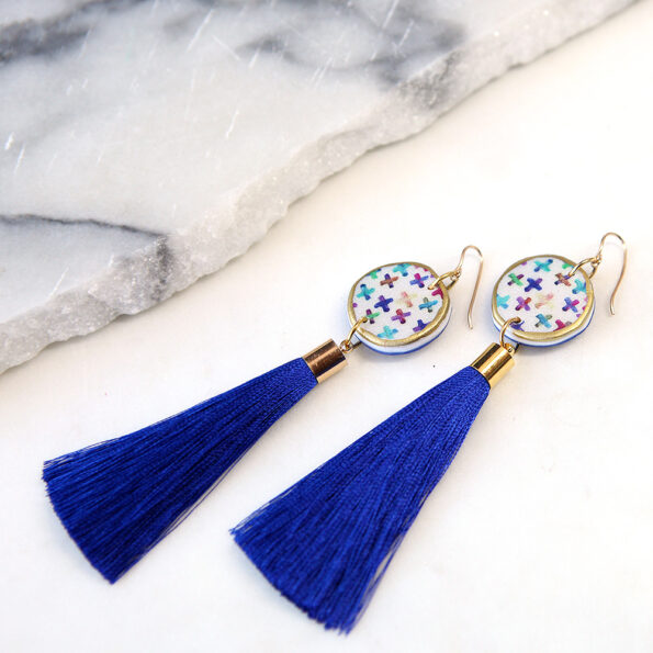 colourful cross art tassel earrings NEXT ROMANCE blue purple jewellery