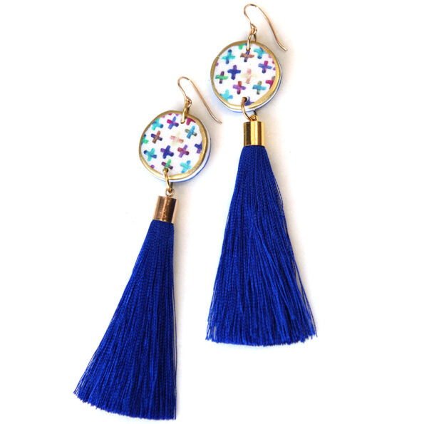 COLOURFUL CROSS art tassel earring – purple or blue