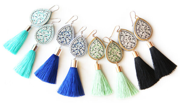 contemporary jewellery funky earrings diamond art tassel silk next romance melbourne