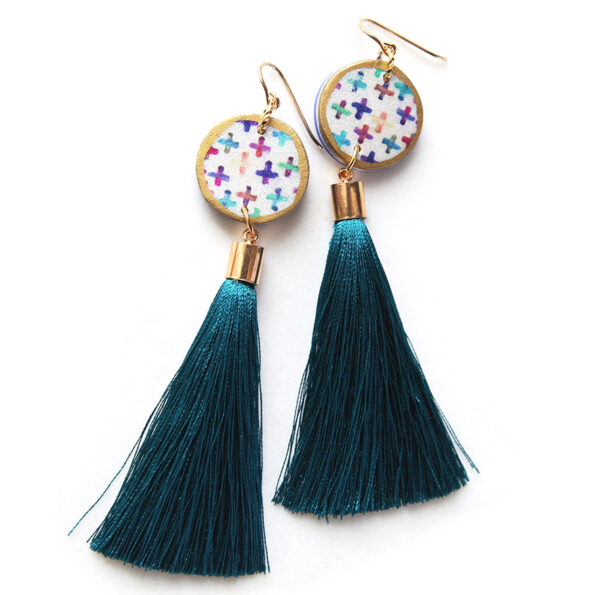 COLOURFUL CROSS art coin tassel earring – choose tassel colour