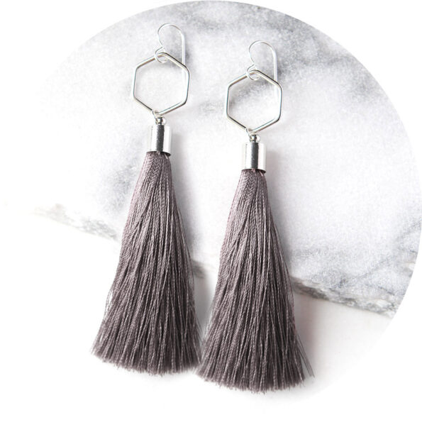 dark grey hex tassel earrings dangley australia unique funky jewellery