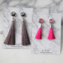 grey and pink TASSELS earrings studs NEXT ROMANCE fun funky jewellery australia